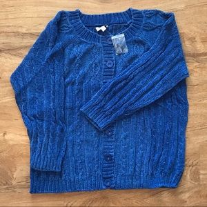 New Denim&Co Blue Button Down Cardigan Sweater 3